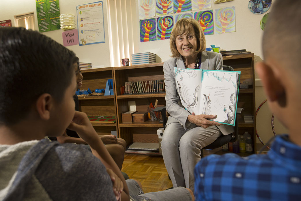 Paulette Chaffee working with students