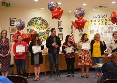 Fullerton School District Board Meeting awards schools certificate for implementation of Healthy Schools Program