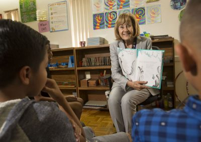 Reading to students in the classroom